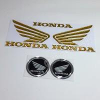Sticker Motor Timbul Logo Wings Sayap Honda Gold Stiker Bulat Hitam