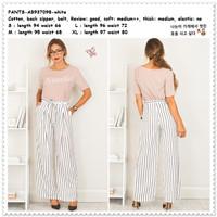 Celana Panjang Kulot Maxi Garis Wanita Korea Import AB937098 Putih