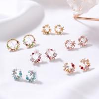 Beauty Daisy Bunga Mengkilap Berlian Imitasi Telinga Stud Earrings Wan