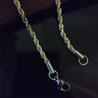 Kalung Stainless Steel Tambang Ulir Kombinasi Gold dengan Silver