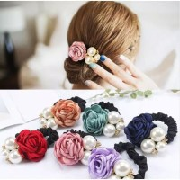 Ikat Rambut Import Karet Bunga Mutiara Korean Style Aksesoris Fashion