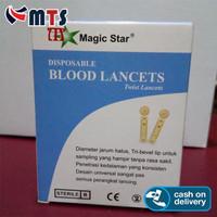 BLOOD STERILE LANCET Jarum BekamBlood Lancets Magic Star 21G 100 PCS