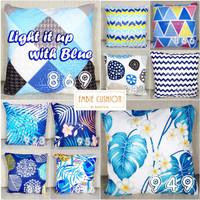 EMBIE CUSHION - Sarung Bantal Sofa / Cushion, 40x40 cm, Light w/ Blue