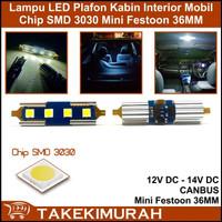 Lampu LED Plafon Kabin Mobil SMD 3030 Canbus Festoon Mini 36MM