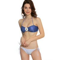 Bikini Set Front Flower Blue White