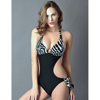 Monokini Halter Backless Zebra