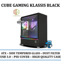 CASING PC CUBE GAMING KLASSIS BLACK - SIDE TEMPERED GLASS