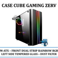 CASING PC CUBE GAMING ZERV - FRONT DUAL STRIP RAINBOW RGB