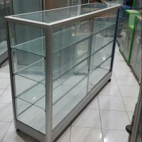 Etalase Dagang Kaca Almunium Silver 250 x 100 x 40