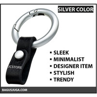 KEYCHAIN LEATHER HIGH QUALITY FASHION TREND - SILVER