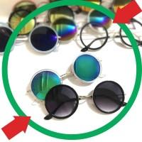 Kode : BESTSELLER Murah Kacamata Hitam Frame Metal Bulat Kecil Lensa
