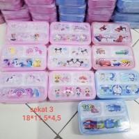 kotak bekal,lunch box anti tumpah yooyee sekat 3 karakter