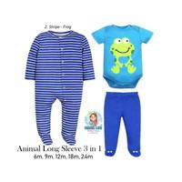 ANIMAL LONG SLEEVE 3 IN 1 / BABY SET JUMPER / PAKAIAN BAYI / BAJU BAYI