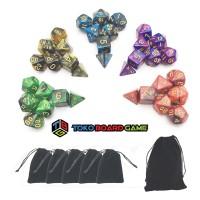 High Quality RPG Dice Set - 7 Pieces + Dice Pouch - Dadu RPG