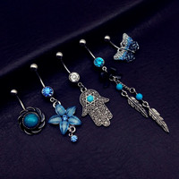5pcs Anting Pusar Tindik Perut Navel Piercing Belly Ring Blue