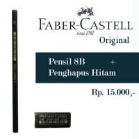 Pensil 8B + Penghapus Hitam Faber Castell Original Product, Pinsil Uni