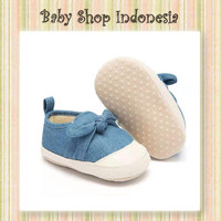 Sepatu Bayi Anak Denim Murah Sepatu Prewalker Import Denim Twisted Bow
