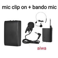 mic wireless jepit dikepala dan baju / microphone Meeting aiwa