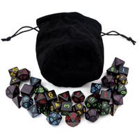5 Sets Black Polyhedral Dice with Satin-Lined Velvet Bag
