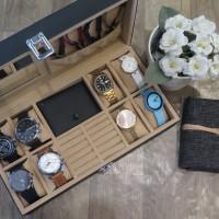 Kotak Jam Tangan Isi 8 + Perhiasan Dompet Kalung dan Cincin