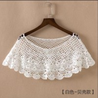 White Knitted Wrap Lace Bolero Hollow Out Shawl Cape Coat / Outer