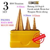 3 SET Mata Bor Step Drill HSS Lapis Titanium Cone Drill Pagoda Tingkat