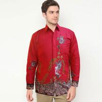 Kemeja Batik Lengan Panjang Unggul Jaya Merah