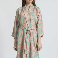 DELI Rayon Robe in Monstera Print