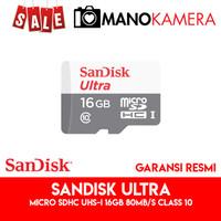 Micro SD MicroSD SanDisk Ultra microSDHC UHS-I 16GB 80MBps Class 10