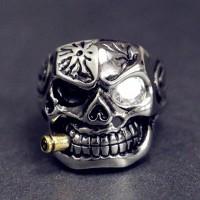 Cincin Motif Kepala Tengkorak Gaya Vintage Punk Lapis Emas untuk Pria