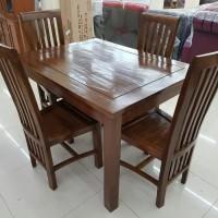 promo set 4 kursi makan, set 6 kursi makan minimalis kayu jati