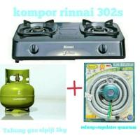 KOMPOR RINNAI 302S TABUNG GAS 3KG DAN ISI REGULATOR DAN SELANG GAS