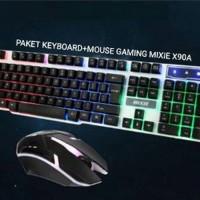 PAKET KEYBOARD GAMING Dan MOUSE GAMING USB MIXIE X90A
