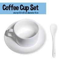 Coffee Cup / cangkir kopi polos 1 set +Tatakan dan Sendok