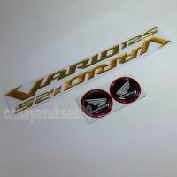 Sticker Timbul Honda VARIO 125 GOLD Stiker Bulat Hitam List Merah New