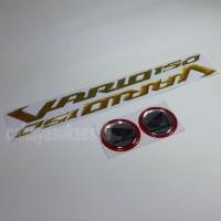 Sticker Timbul Honda VARIO 150 GOLD Stiker Bulat Silver List Merah NEW