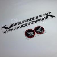 Sticker Timbul Honda VARIO 150 Silver Stiker Bulat Hitam List Merah