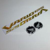 Sticker Timbul Honda VARIO 125 GOLD Stiker Bulat Hitam List Silver New