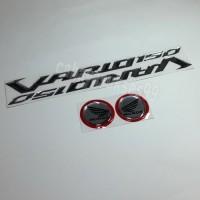 Sticker Timbul Honda VARIO 150 Silver Stiker Bulat Silver List Merah