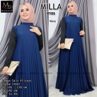 baju wanita gamis milla plisket muslim modern unik modis lucu trendi