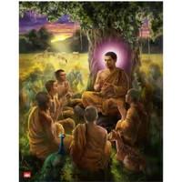 Poster Gambar 3D Buddha Memutar Roda Dhamma 8R