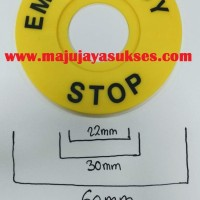 EMERGENCY STOP Label Panel Bulat Round Kuning 22mm 25mm 30mm 60mm