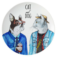ZEN Piring Animal Series - Cat & Dog diameter 22 cm