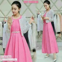Baju Maxi Set Dress / Pink Lilian Polka Babyterry / Dress Pesta