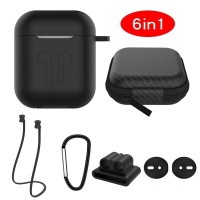 Accessories 6 in 1 for Airpods (Case Bag Strap Keychain Holder Eartips