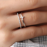 cincin fashion wanita multilayer open ring jci048