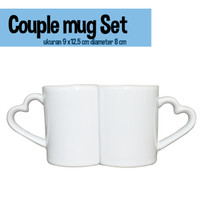 Mug Couple / Mug Pasangan dapat sepasang Polos diameter 8 dan 7.5 cm