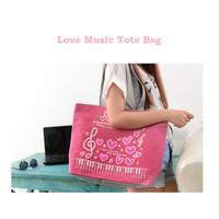 TC54 Love Music Canvas Tote Bag / Tote Bag Wanita / Tas Kanvas Motif
