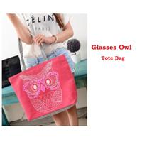 TC52 Glasses Owl Canvas Tote Bag / Tote Bag Wanita / Tas Kanvas Motif