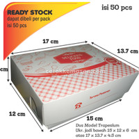 Box Take Away ( Model DBESTO) 15 x 12 x 6 cm Foodgrade cetak 1 warna